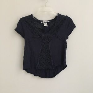 Navy Lace Crop Top High Low